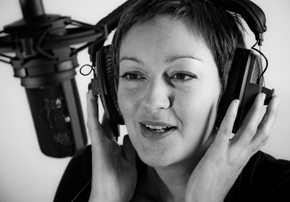 Heather Larcombe doing a voiceover